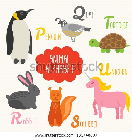 Alphabet for kids with animals. Letters P, Q, R, S, T, U. Penguin, Quail, Rabbit, Squirrel, Tortoise, Unicorn  - stock vector