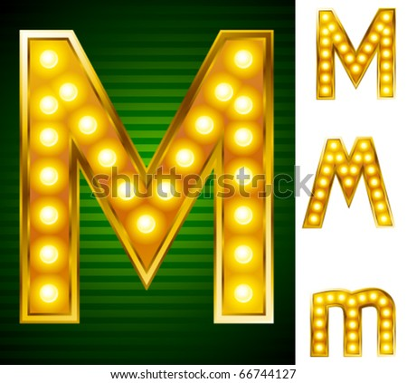 Alphabet for signs with lamps. Letter m - stock vector