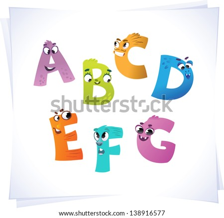 Alphabet for the kids: funny letters cartoon A-G - stock vector