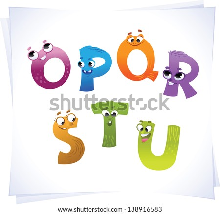 Alphabet for the kids: funny letters cartoon O-U - stock vector