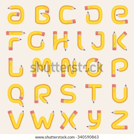 Alphabet formed by pencil. Vector design template elements for your application or corporate identity. - stock vector