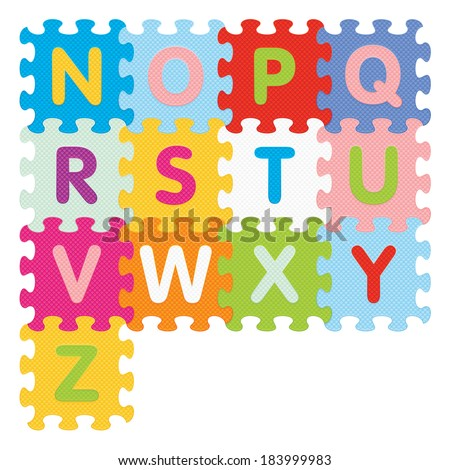 Alphabet from N to Z written with puzzle - vector illustration - stock vector