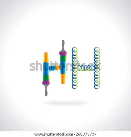 alphabet H created by painting brush and circles - stock vector