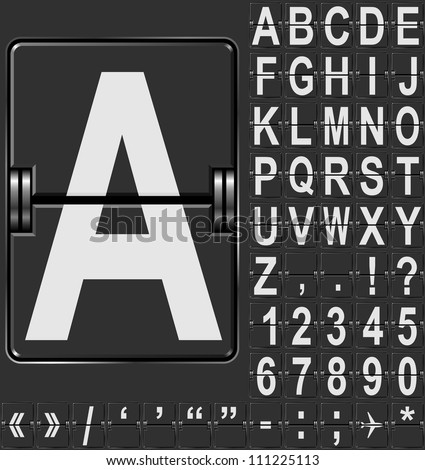 Alphabet in airport arrival and departure display style template. Easy to put together any words and numbers. - stock vector