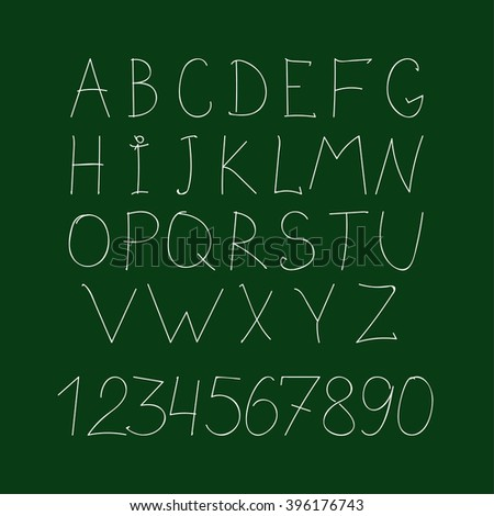 Alphabet in hand drawing chalk style. Vector Eps10 illustration. - stock vector