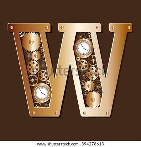 Alphabet in steampunk style, consisting of watch movements - stock vector