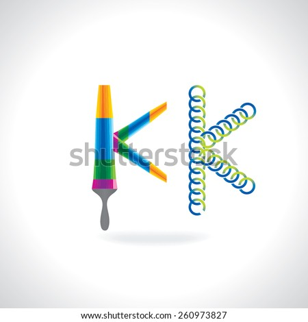 alphabet K created by painting brush and circles - stock vector
