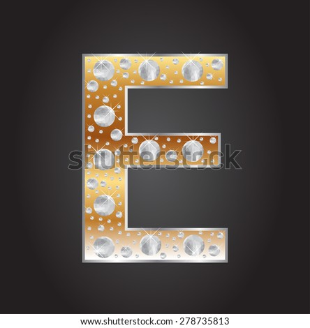 Alphabet letter E with diamonds.Abstract logo E.Vector illustration. - stock vector
