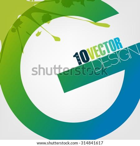 alphabet letter G paint splatter ink paint blue green, eps10 vector - stock vector
