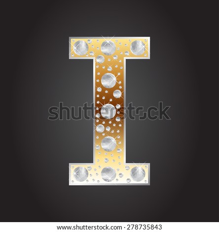 Alphabet letter I with diamonds.Abstract logo I.Vector illustration. - stock vector