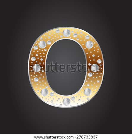 Alphabet letter O with diamonds.Abstract logo O.Vector illustration. - stock vector