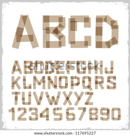 Alphabet letters and numbers made from adhesive tape. Vector eps10 - stock vector