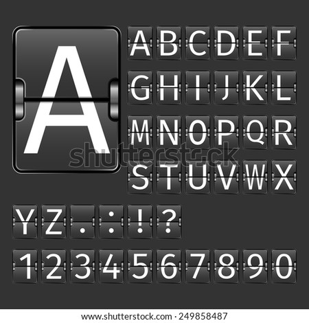 Alphabet letters and numbers on black arrival departure airport board vector illustration - stock vector