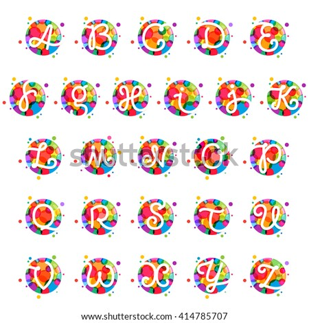 Alphabet letters in circle with rainbow dots. Font style, vector design template elements for your application or corporate identity. - stock vector
