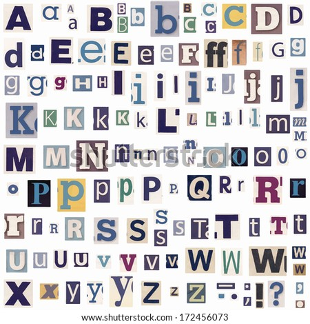 alphabet letters made of newspaper and magazine - stock vector