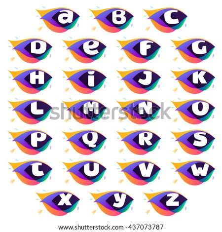 Alphabet logo in peacock feather icon. Multicolor vector alphabet letters for app icon, corporate identity, card, labels or posters. - stock vector