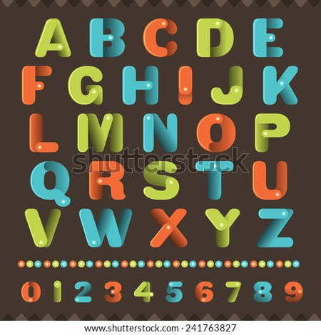 Alphabet muti colors in cute shape for kids headline - stock vector
