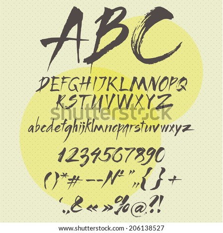 Alphabet, numbers and typography symbols, vector illustration. - stock vector