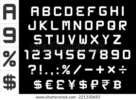 alphabet, numbers, currency and symbols pack - rectangular basic font, vector - stock vector