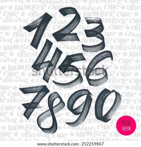 Alphabet numbers digital style hand-drawn doodle sketch. Vector illustration. - stock vector