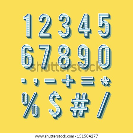 Alphabet numbers in vintage style. Retro type font, vintage typography. Vector EPS10 numbers and symbols set - stock vector
