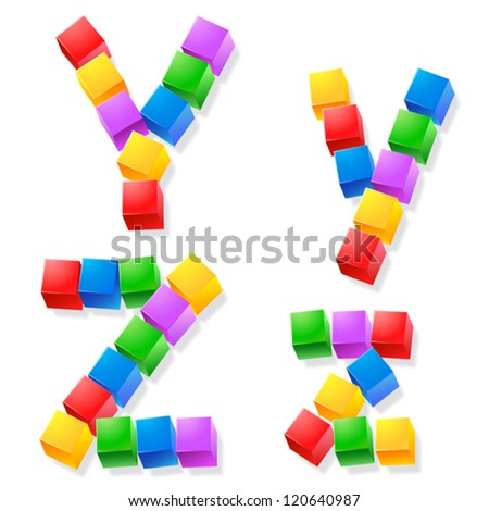 Alphabet of children's blocks. Vector illustration of funny cube font. Letters y z - stock vector