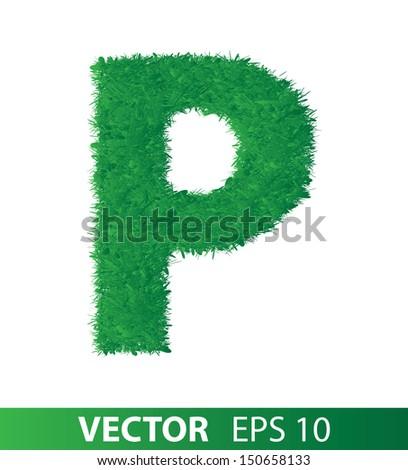 alphabet of green grass on white background, vector eps 10 illustration - stock vector