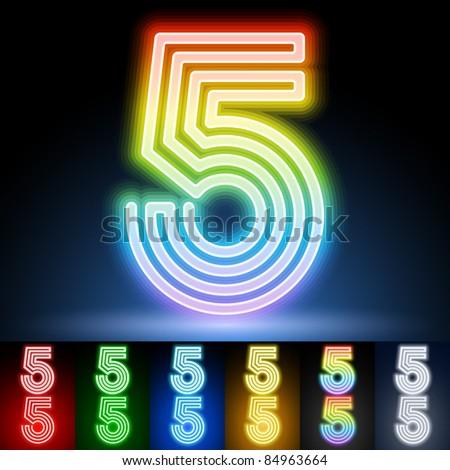 Alphabet of neon tubes. letter 5 - stock vector