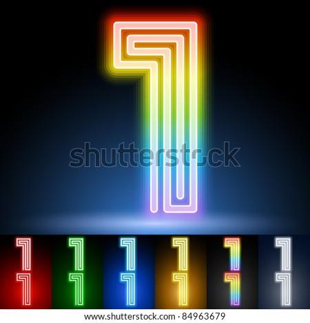 Alphabet of neon tubes. letter 1 - stock vector