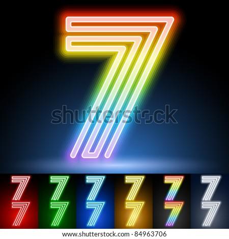 Alphabet of neon tubes. letter 7 - stock vector