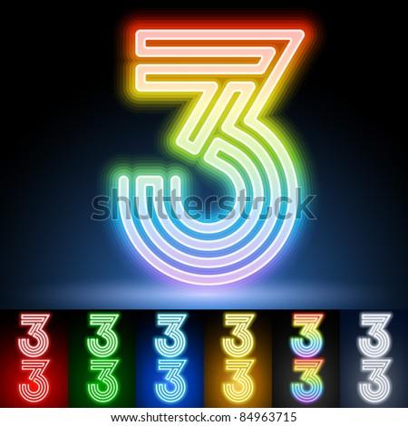Alphabet of neon tubes. letter 3 - stock vector