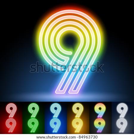 Alphabet of neon tubes. letter 9 - stock vector