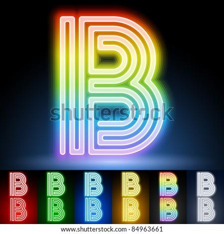 Alphabet of neon tubes. letter b - stock vector