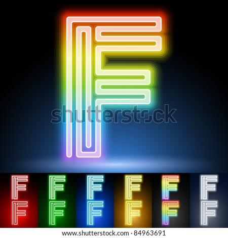 Alphabet of neon tubes. letter f - stock vector