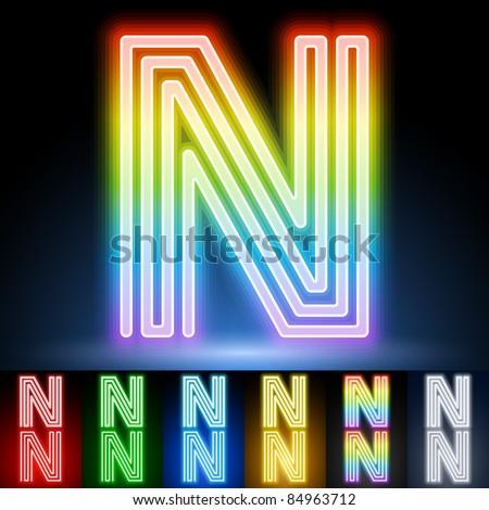 Alphabet of neon tubes. letter n - stock vector
