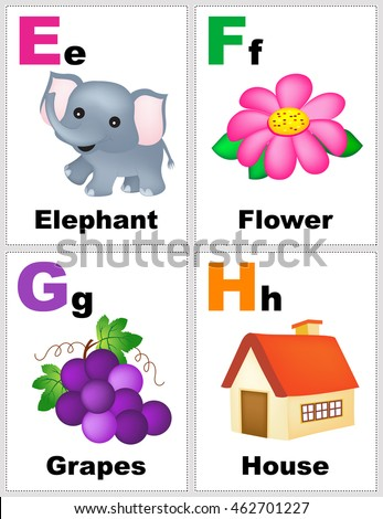 Alphabet printable flashcards collection with letter E F G H - stock ...