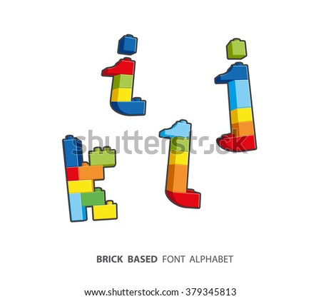 Alphabet set created from playing bricks. Lower case letters - stock vector