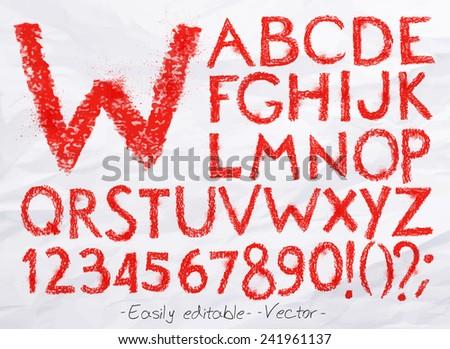 Alphabet set drawn pastel blots a spray red color. Easily editable. Vector - stock vector