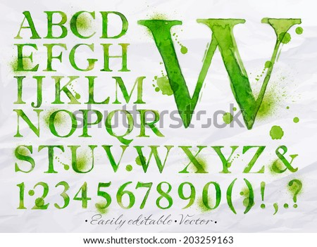 Alphabet set drawn watercolor blots and stains with a spray green color. Easily editable. Vector - stock vector