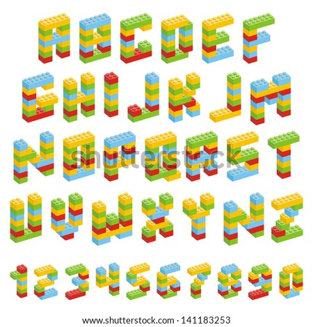 Alphabet set made of toy blocks isolated - stock vector