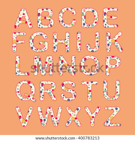Alphabet set of colorful circle. Fun alphabet design, vector illustration - stock vector