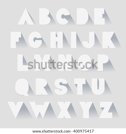 alphabet set with shadows. vector extra bold fat capital letters as paper  - stock vector