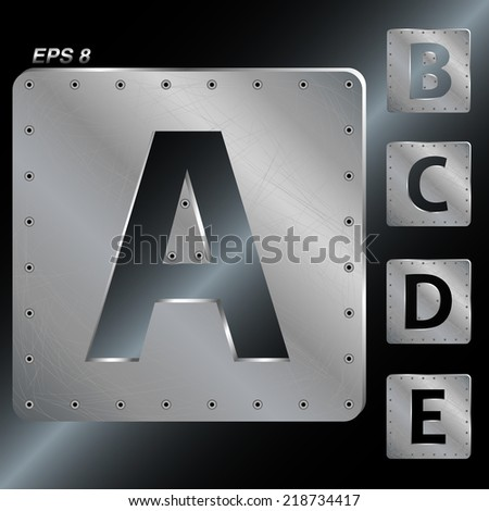 Alphabet. The letters A, B, C, D, E. Metal plates with rivets. Vector EPS 8. - stock vector