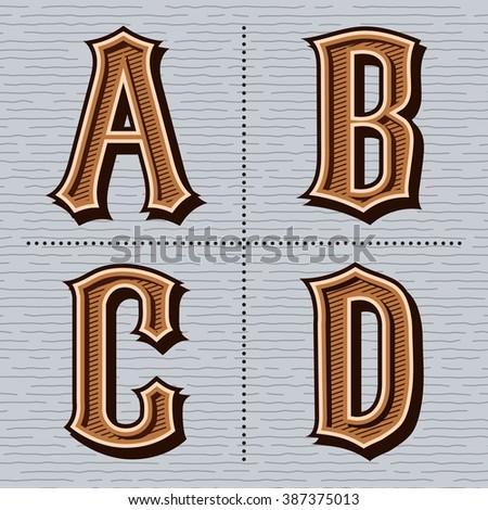 Alphabet western letters vintage design vector (a, b, c, d) - stock vector