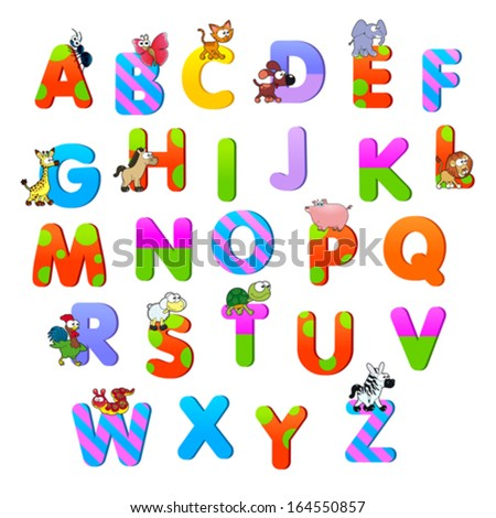 Alphabet with animals. Funny cartoon and vector isolated items. - stock vector