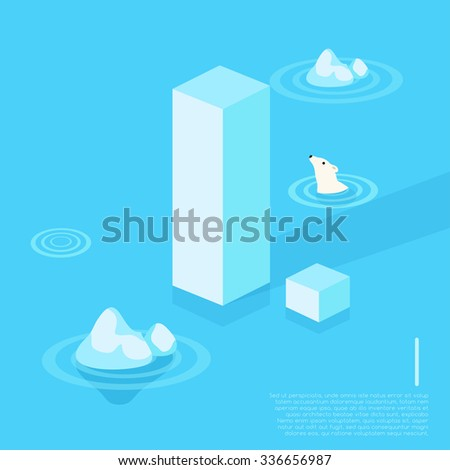 Alphabet With Arctic Elements : Vector Illustration - stock vector