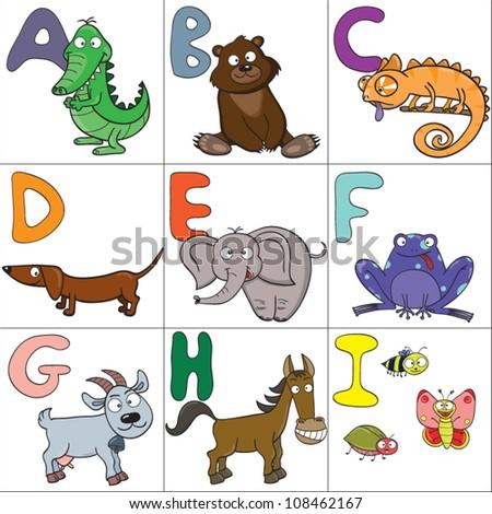 Alphabet with cartoon animals 1 - stock vector