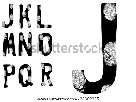 Alphabet with fingerprints over them J to R (Set 2 of 3) - stock vector