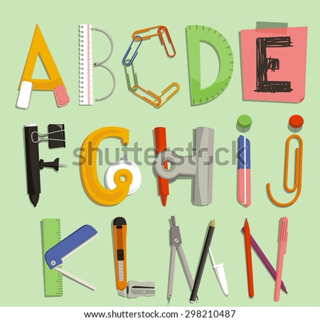 Alphabet with Office Supply Objects, vector illustration cartoon. A, B, C, D, E, F, G, H, I, J, K, L, M, N - stock vector