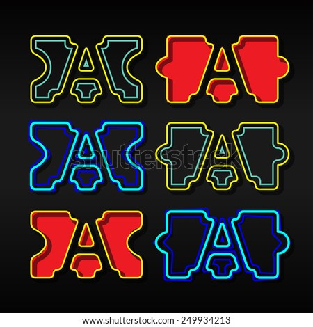 Alphabet written with puzzle - Letter A - stock vector